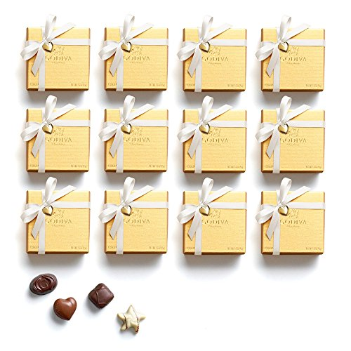 Godiva Chocolatier Chocolate Gold Favor 48 Piece Gift Box, White Ribbon With Heart Charm, Holiday Hostess Gift, 19 (Godiva Chocolate Favors)