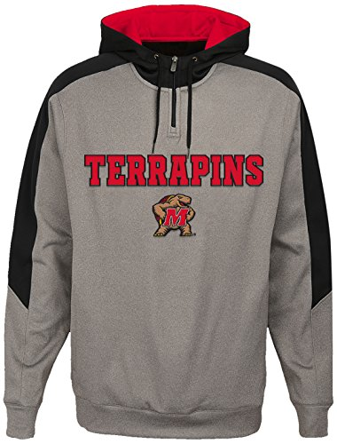 Maryland Terrapins Light - OuterStuff NCAA Maryland Terrapins Youth Boys Illustrious 1/4 Zip Hoodieed Jacket, Small(8), Light Charcoal