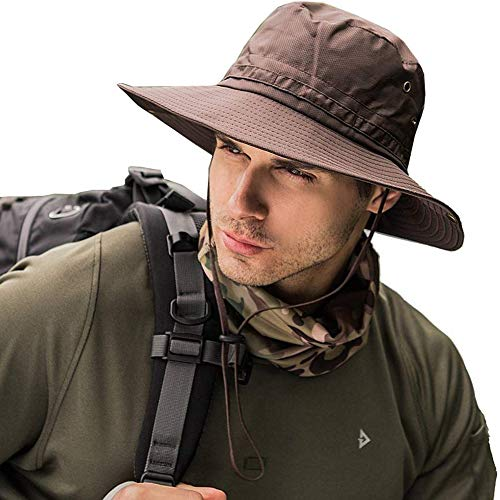 - Fishing Sun Boonie Hat Wide Brim Outdoor Hiking Safari Summer Hunting Hat UV Protection Sun Cap Coffee