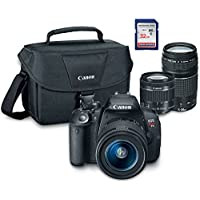 Canon EOS Rebel T5i Digital SLR Camera Kit with EF-S 18-55mm STM + EF 75-300mm III + ES100 Case + 32GB Class 10 SD Card - International Version