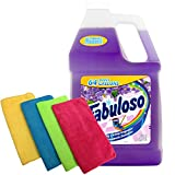 Fabuloso Makes 64 Gallons Lavender Purple Liquid Multi-Purpose Professional Household Non Toxic Fabolous Hardwood Floor Cleaner Refill + Uben Microfiber 12 X 12 Cleaning Cloth Colors May Vary - 4 Pack