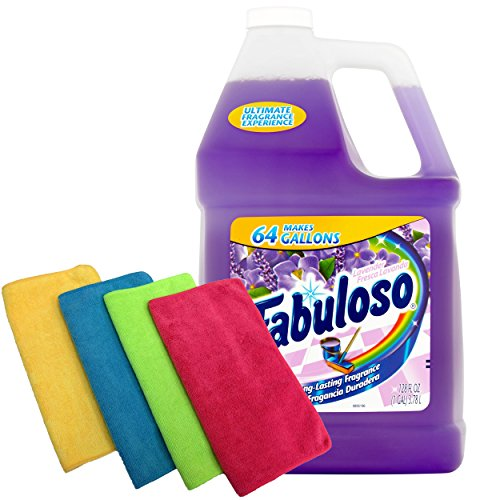 Fabuloso Makes 64 Gallons Lavender Purple Liquid Multi-Purpose Professional Household Non Toxic Fabolous Hardwood Floor Cleaner Refill + Uben Microfiber 12 X 12 Cleaning Cloth Colors May Vary - 4 Pack by Fabuloso