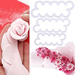 Bihood Rose Cookie Fondant Molds Fondant Cutters and Molds Silicone Molds for Fondant Mold Springerle Cookie Bowl Mold Cookie Molds Baking Silicone 3D Rose Flower Shortbread Cookie Mold