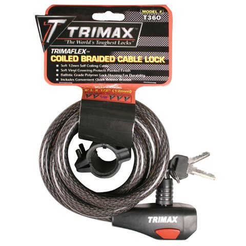 Trimax TKC126 High Security Cable Lock with Bracket - Coiled 72'' X 12mm