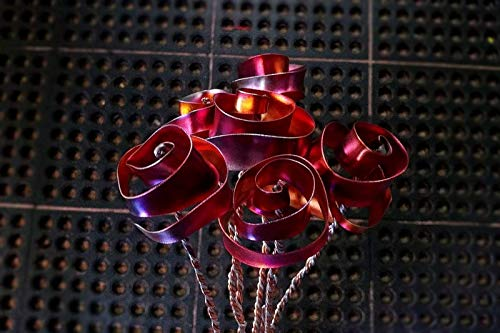 Set of 3 Flame Color Forever Copper Roses #1199