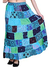 Exotic India Long Printed Dori Skirt from Gujarat with