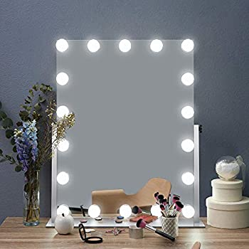 Image of AI-LIGHTING Hollywood Lighted Vanity Makeup Mirror Light, Makeup Dressing Table Vanity Mirrors with Dimmable Bright LED Lights, Multi Color Mode Tabletop Cosmetic Mirror with Light