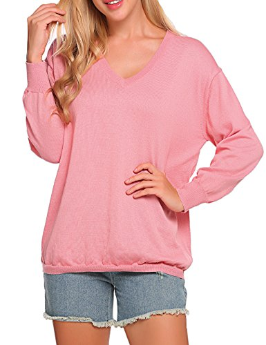 SoTeer Womens V-Neck Pullover Sweater Long Sleeve Loose Fit Knit Winter Blouse Tops Pink ()