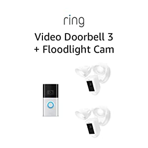 All-new Ring Video Doorbell 3 with Ring Floodlight Camera 2-Pack (White)