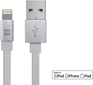 Monoprice 112858 Apple MFi Certified Flat Lightning to USB Charge & Sync Cable - 3 Feet - White Compatible With iPhone X, 8, 8 Plus, 7, 7 Plus, 6, 6 Plus, 5S , iPad Pro - Cabernet Series