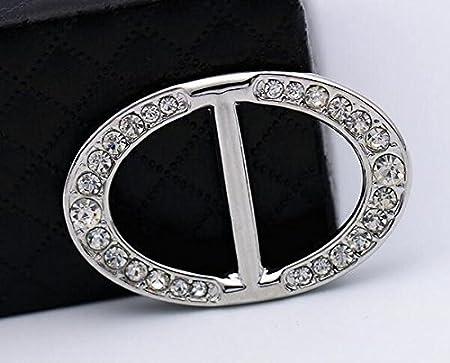 Lujo Moda oval Rhinestone hebilla bufandas pa/ñuelo de seda cierre Sarf Clips Ropa Anillo Wrap Soporte de metal para las mujeres regalo de Navidad