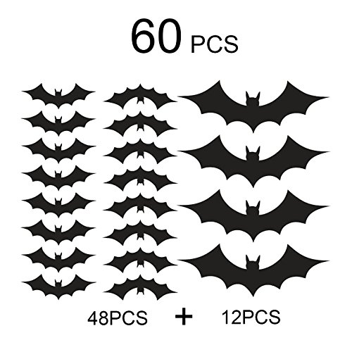 Conjugal Bliss 60PCS Halloween Party Decor Black Plastic Bats Butterfly Wall Decal Wall Sticker for Home Window Office Bar Restaurant Decoration Scary Bats Wall Decals (Halloween Plays For Kids+printable)