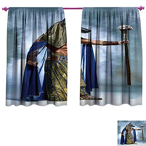 WinfreyDecor Egyptian Room Darkening Wide Curtains Ancient Egyptian Pharaoh with a Mask of Anubis Foggy Background Print Decor Curtains by W72 x L63 Navy Gold and Dimgrey ()