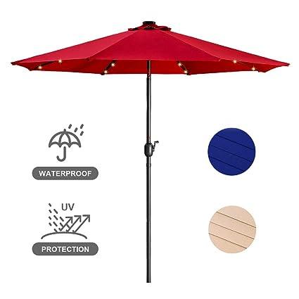 9ft Patio Table Umbrella with Crank and 8 Ribs,Tilt Adjustment Outdoor Umbrella