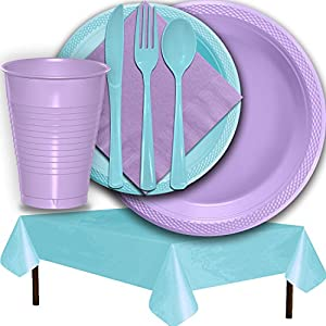 Plastic Party Supplies for 50 Guests - Lavender and Light Blue - Dinner Plates, Dessert Plates, Cups, Lunch Napkins, Cutlery, and Tablecloths - Premium Quality Tableware Set