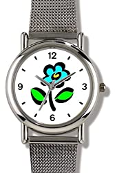 Stylized Blue or Turquoise Pansy Flower - WATCHBUDDY® ELITE Chrome-Plated Metal Alloy Watch with Metal Mesh Strap - Small ( Children's Size - Boy's Size & Girl's Size )