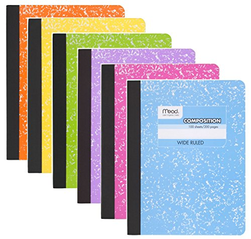 Mead Composition Book, Notebook, Wide Ruled paper, 100 sheets (200 Pages) , Pastel Color Notebooks, 6 Pack by Mead