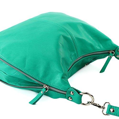 modamoda de - Made in Italy T56 - Bolso bandolera de piel napa italiana, para mujer aguamarina