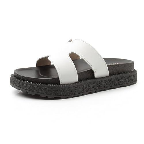 JRenok Sandales Été pour Femme Chaussures Plateforme Talon à Bout Ouvert Sandales Mocassins Élégant Casual Noir 34 41HZZl
