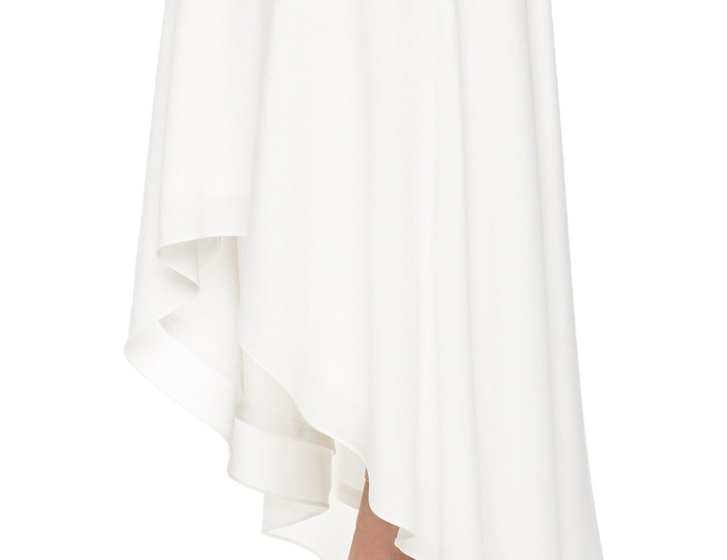 Social Graces Women's Sheer Long Sleeve Ruffle High/Low Skirt Stretch Crepe Maxi Dress 18 Plus Cream by Social Graces (Image #5)