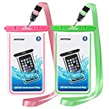 Universal Fluorescent Waterproof Case, Mpow 2Pack IPX8 Clear Waterproof Dustproof Dry Bag for iPhone X/XS/XS Max/XR/8/8 Plus/7/7 Plus/6/6s Plus, Samsung Galaxy S9/S8/S7 and All Devices Up to 6 Inches