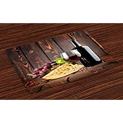 Ambesonne Wine Place Mats Set of 4, Red Wine Cabernet Bottle and Glass Cheese and Grapes on Wood Planks Print, Washable Fabric Placemats for Dining Room Kitchen Table Decor, Brown Burgundy Cream