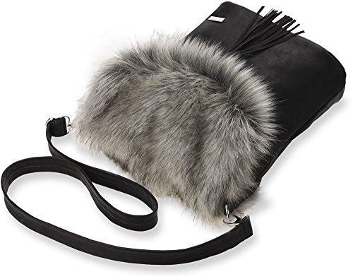 originelle Damentasche Handtasche Umhängetasche Schultertasche mit Fell und Fransen schwarz