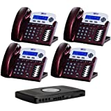 X16 Small Office Phone System with 4 Red Mahogany X16 Telephones - Auto Attendant, Voicemail, Caller ID, Paging & Intercom