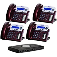 X16 6-Line Small Office Phone System with 4 Red Mahogany  X16 Telephones - Auto Attendant, Voicemail, Caller ID, Paging & Intercom