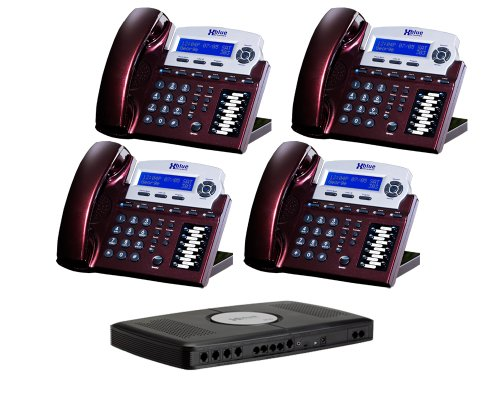 X16 6-Line Small Office Phone System with 4 Red Mahogany  X16 Telephones - Auto Attendant, Voicemail, Caller ID, Paging & Intercom - Paging System For Office