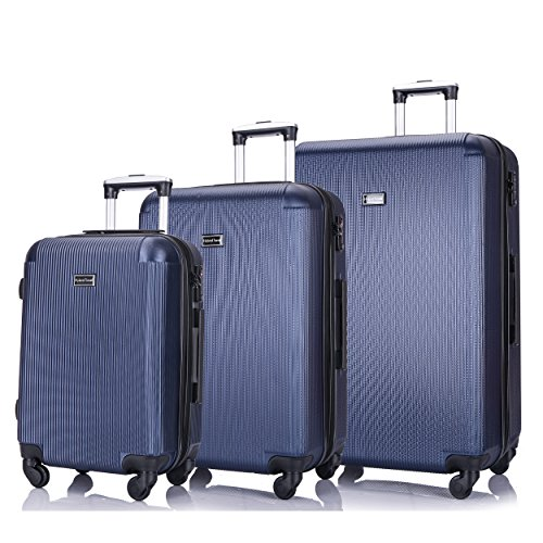 3 PC Luggage Set Durable Lightweight Hard Case pinner Suitecase -LUG3-LY71-NAVY