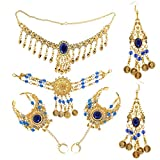 non-brand MagiDeal Ladies Bridal Party Costume Necklace Earrings Headpiece Hand Jewelry Set Belly Dance Set - Blue