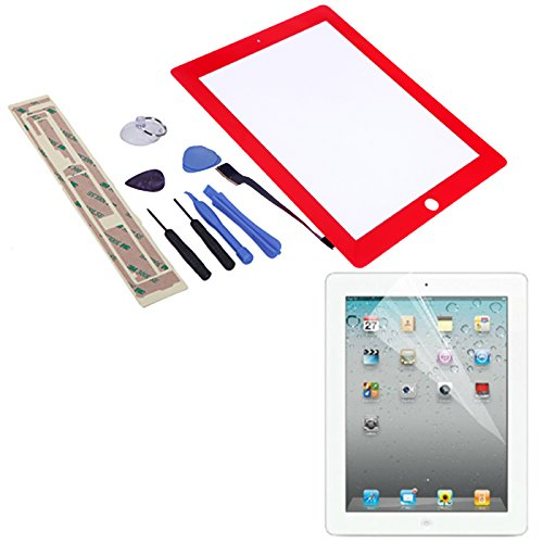 HDE Replacement Front Glass Digitizer Touch Screen + Screwdriver Pry Tool Kit + Screen Protector + Adhesive Tape for iPad 4 (Red)