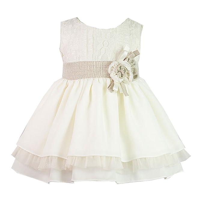 ALBER - Vestido Ceremonia NIÑA bebé-niños Color: BEIG Talla: 36M ...