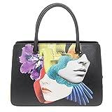 Prada Women's Multicolor Graphic-Print Saffiano Tote Black + Multicolor