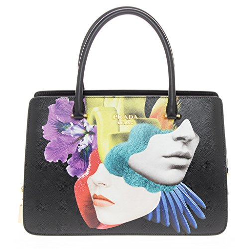 Prada-Womens-Multicolor-Graphic-Print-Saffiano-Tote-Black-Multicolor