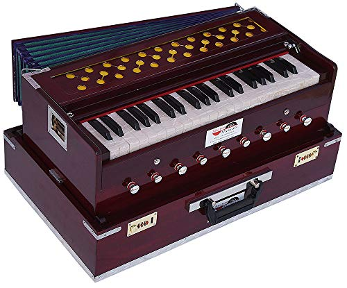 Harmonium Traveler/Portable/Folding Type By Kaayna Musicals, 9 Stops- 5 Main & 4 Drone, 3½ Octaves, Coupler, Dark Colour, Gig Bag, Bass-Male Reed - 440 Hz, Suitable for Yoga, Bhajan, Kirtan, Mantra