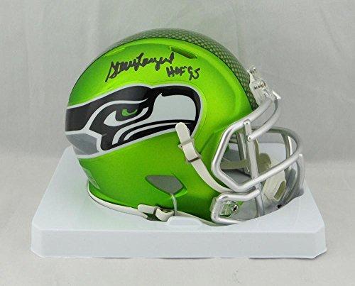 Hand Steve Signed Largent (Steve Largent Signed Seahawks BLAZE Mini Helmet w/ HOF- JSA Witnessed Black)