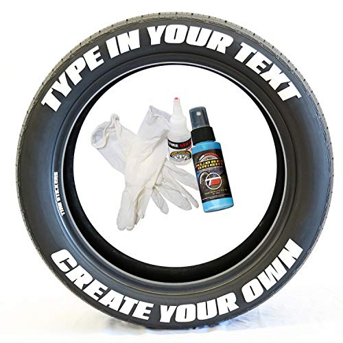Tire Stickers - Create Your Own Custom Tire Lettering Add-On Accessory - DIY/Easy/Glue & 2oz Touch-Up Cleaner - Custom Sizing/White (Pack of 8)