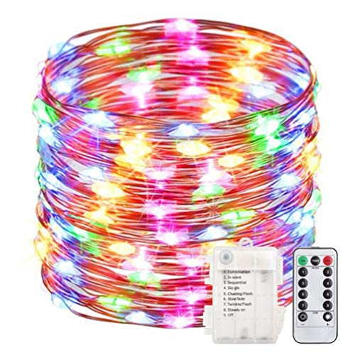 Fairy String Lights with Remote Control - Micro Firefly Lights 100 LED Battery Operated 33 Foot Indoor DIY Fairy Lights for Easter Garden Wedding Party Bedroom Decor - Multi Colour