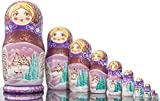 Russian Nesting Doll - ''Winter`s Tale'' - Hand Painted in Russia -15 color/size variations - Wooden Decoration Gift Doll - Traditional Matryoshka Babushka (12`` (10 dolls in 1), Purple)