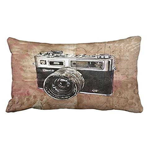 Emvency Decorative Throw Pillowcase King 20x36 Inches Vintage Watercolor Camera Painting Brown Retro Cotton Pillow Cover With Hidden Zipper Decor - Round Sterling Silver Wire Basket