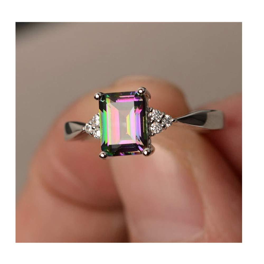 YOMXL Women's Wedding Ring,Fashion Rainbow Stone Square Diamond Inlay Ring Crystal Diamond Princess Silver Rings
