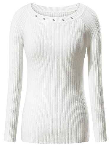 FENSACE Women's Long Sleeve Casual Round Neck Knits Sweater, White, Medium (Round Neck Knit Sweater)