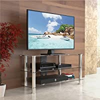 Fitueyes Classic Clear Tempered Glass Tv Stand Suit for up to 46-inch LCD LED Oled Tvs Fts310501gt