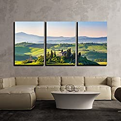 "wall26 - 3 Piece Canvas Wall Art - Beautiful Spring Landscape in Tuscany, Italy - Modern Home Decor Stretched and Framed Ready to Hang - 24""x36""x3 Panels"