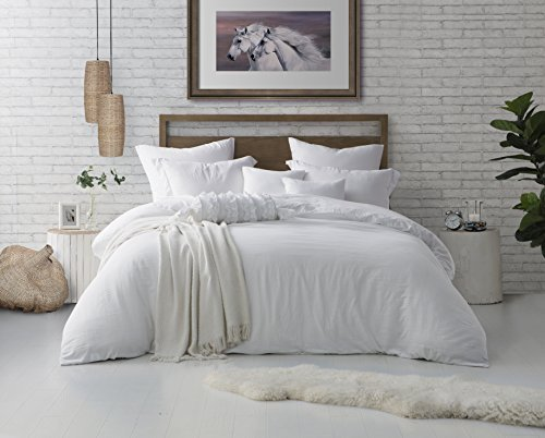 Swift Home Microfiber Washed Crinkle Duvet Cover & Sham (1 Duvet Cover with Zipper Closure & 1 Pillow Sham), Premium Hotel Quality Bed Set, Ultra-Soft & Hypoallergenic – Twin/Twin XL, White