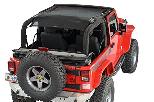 (SPIDERWEBSHADE Jeep Wrangler Mesh Shade Top Sunshade UV Protection Accessory USA Made with 5 Year Warranty for Your JK 2-Door (2007-2018) in Black)