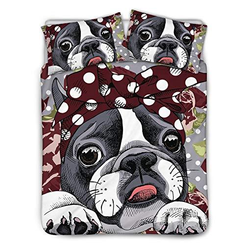 UNICEU 3PCS Bedding Sets Floral Boston Terrier Pattern Soft Lightweight Duvet Cover Zipper Closure, 1 Quilt Set 2 Pillowcases Queen Black(88in x 88in)