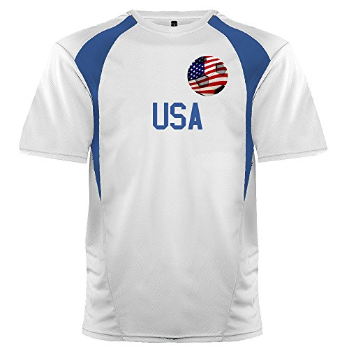Custom USA Soccer Ball 1 Jersey Youth Medium in White and Royal Blue